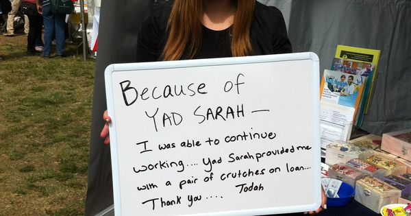 Volunteer Continues to work while on Crutches, because Yad Sarah loaned her crutches