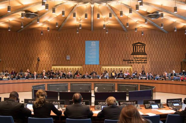 An image of the UNESCO organization in session