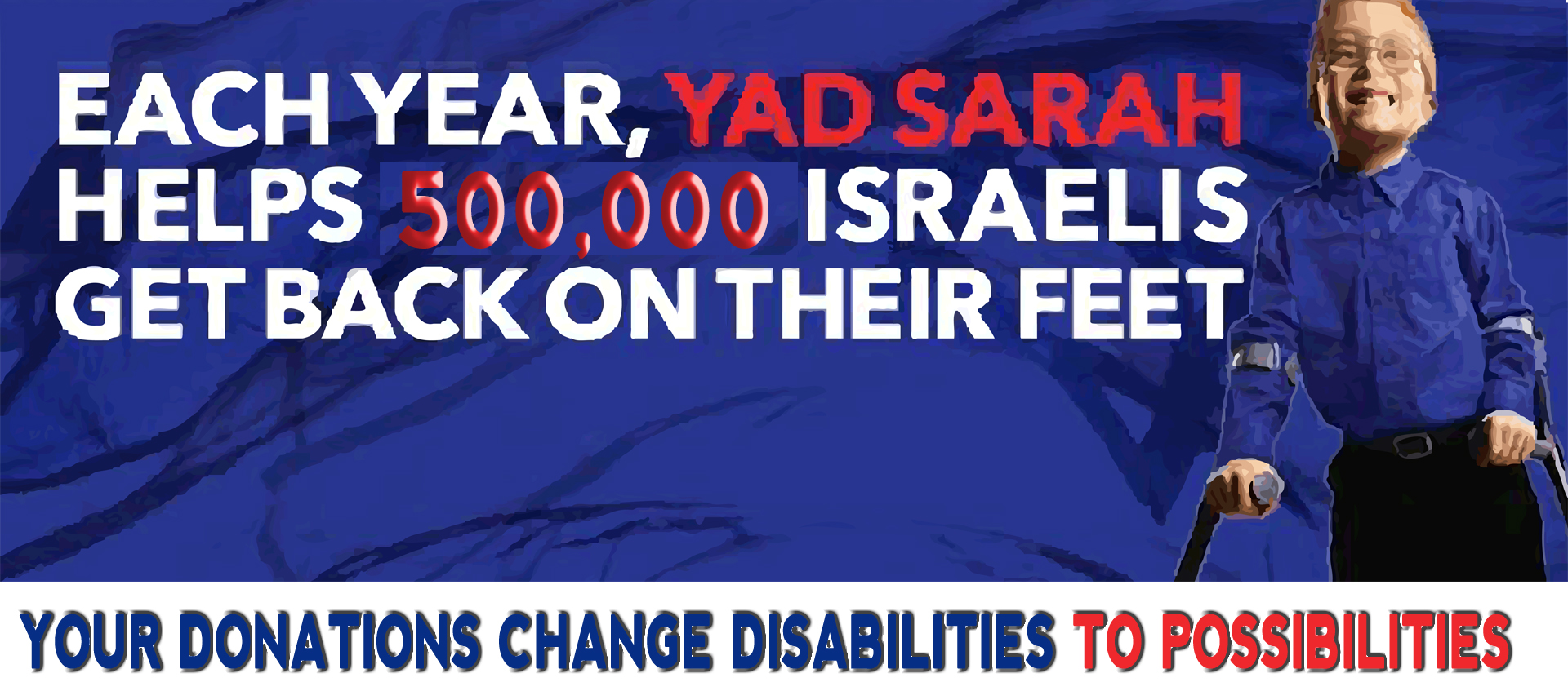 A little blond boy with glasses stands using the aid of crutches. The sign reads, Each Year, Yad Sarah helps 500,000 Israelis get back on their feet