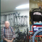 An older gentleman stands in front of crutches, wheelchairs, a woman goes home with equipment required for her twins and an older gentleman volunteers to refurbish wheelchairs