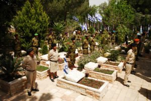 Soldiers at Mt. Herzel Cemetery Remembering the Fallen at Israel Remembrance Day