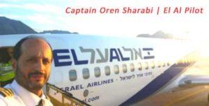 Issraeli Pilot Oren Sharabi Standing by his El Al Airplane