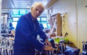 Ezekiel Herman at work in the Yad Sarah workshop repairs wheelchairs