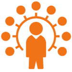 An icon of a person surrounded by round circles. It represents all around knowledge or expertise.