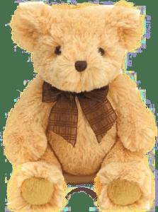 Beige teddy bear with brown ribbon bowtie